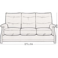Sienna Oak 3 Seater 2 Cushion Back