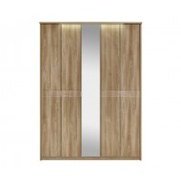 Kingstown Ocean Tall 5 Bifold Door Wardrobe with Lights and Mirror