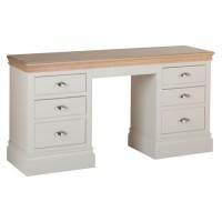 Corndell Annecy Double Pedestal Dressing Table - Oak Top