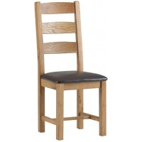 Corndell Lovell Slatted Chair with PU Leather seat Dining Chair